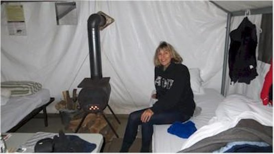 Tuolumne Meadows Lodge: Our tent and little stove.