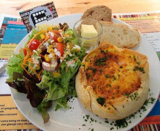 Books & Brunch: Delicious quiche, salad, and bread.