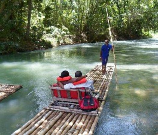 Martha Brae River: Bamboo raft departing the loading area