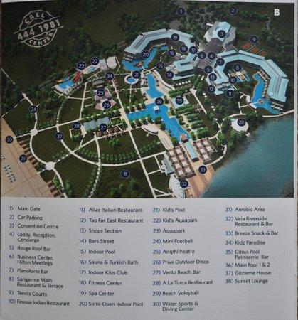Hilton Dalaman Sarigerme Resort & Spa : Resort's map
