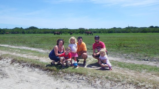 Back Country Safari Tours: us, our tour guide and the gnome :)  oh and the horses too!