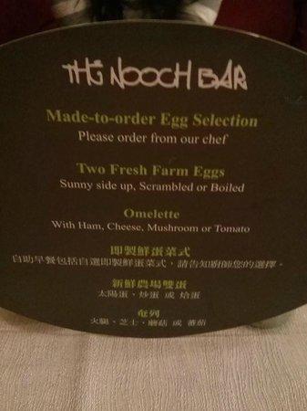 Cosmo Hotel Hong Kong: Nooch Bar made to order egg selection