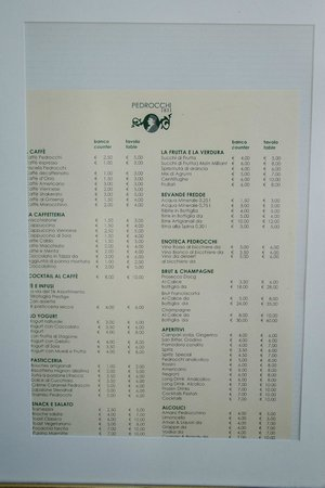 Caffe Pedrocchi : the menu