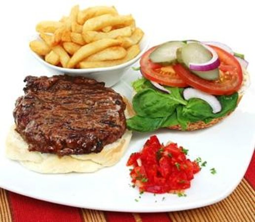 The Avenue Restaurant and Grill: 100% pure beef burger and handcut chips