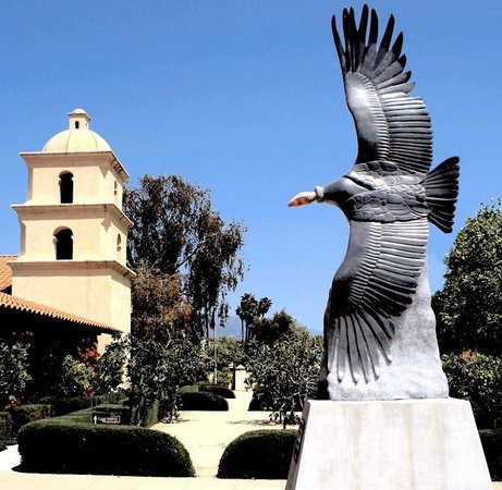 "Ojai Valley Museum of History and Art: Monumental ""Soaring in Stone"" condor sculpture by Carlyle Montgomery."