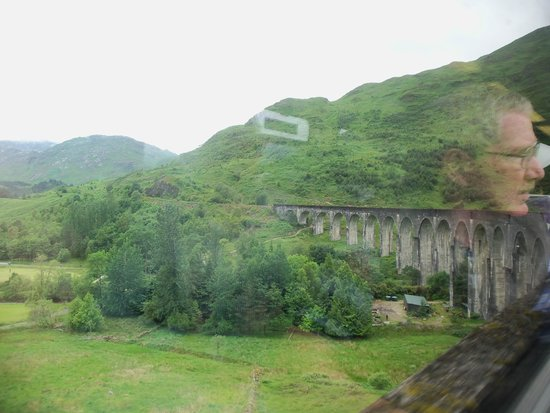 Strathspey Railway: Crossing the Glenfinnan Viaduct (from inside the train)