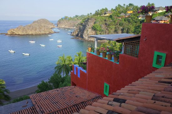 Costalegre, México: View from a casita to the bay below