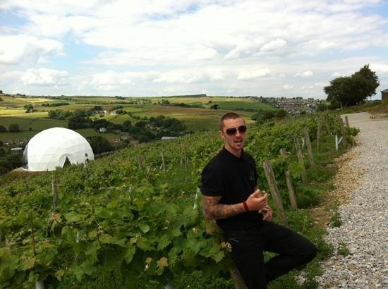 Holmfirth Vineyard : our excellent guide for the vineyard tour with Tour de France viewing pod i background