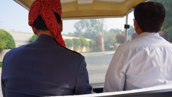 The Oberoi Amarvilas: Golf Cart to the Taj Entrance