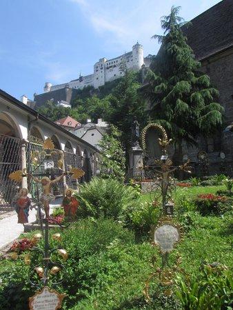 Petersfriedhof : Blick hinauf zur Festung