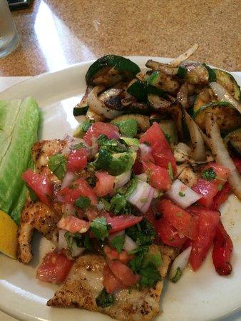 Ma's Fish Camp: Grouper baja style w/grilled veggies.