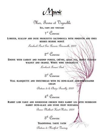 one of our wine dinner menus picture of mosaic fine dining taos rh tripadvisor com fine dining menu template free fine dining menu template free