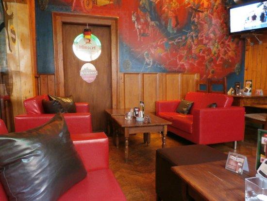 Logan S Irish Pub Padded Sofa And Tv Room