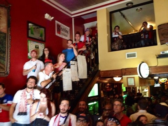 The Harp and Celt Irish Pubs and Restaurant: American Outlaw Soccer fans supporting the USA at the Harp and Celt
