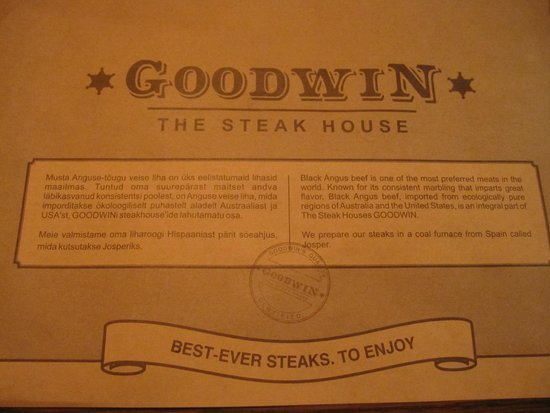 Goodwin Steak House: Carta