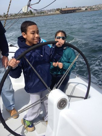Sail Stars & Stripes USA-11: 10 year old at the helm