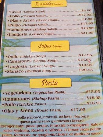 Olas y Arena Restaurant : Menu