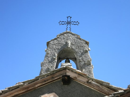 The steeple of the Gornergrat chapel.