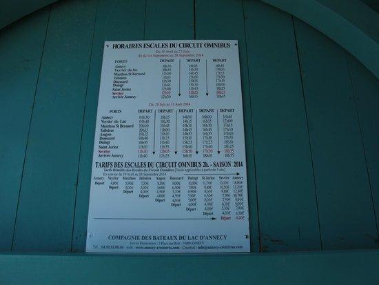 Compagnie des Bateaux du Lac d'Annecy : Omnibus schedule at Sévrier