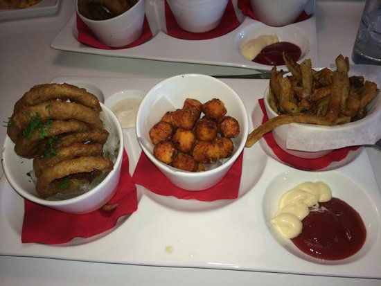 Flip Burger Boutique : Fry Sampler: Onion Rings, Sweet Potato Tots, French Fries