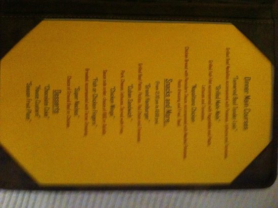 Occidental Papagayo - Adults only: room service menu