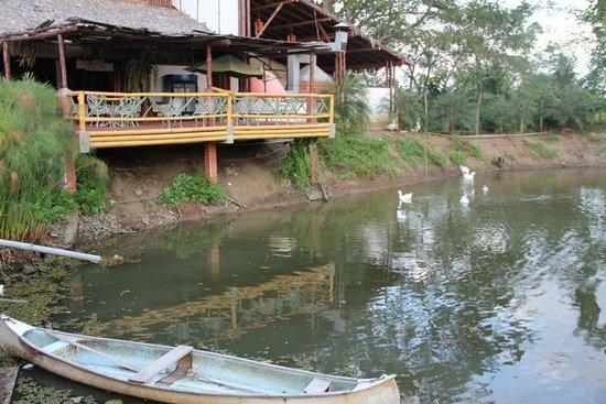 El Señor de los Caballos: Fishing pond with canoe