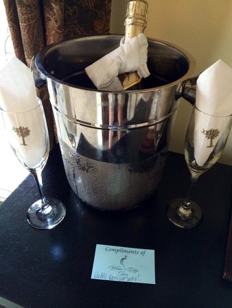 "Water's Edge Inn: The complimetary bottle of champagne that was waiting in our room.  The note says, ""Compliments"