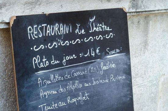 Restaurant Le Theatre : Menu.