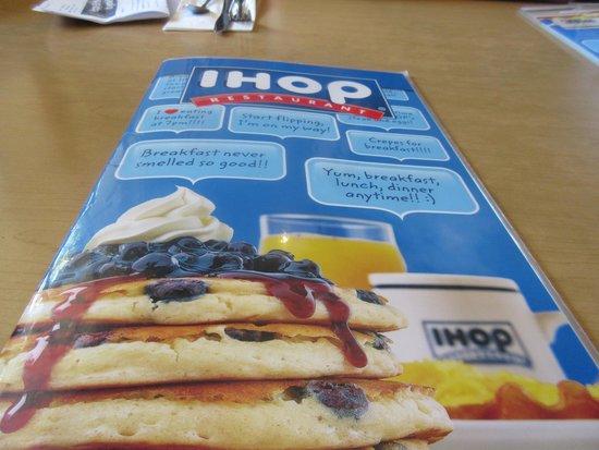 IHOP Menu Cover, Milpitas, CA