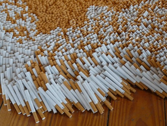 MASS MoCA: A detail from a giant installation made from cigarettes