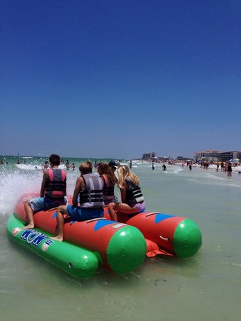 Sandpearl Resort : Banana boat ride my kids loved. A fee but worth it.  A different company owns these but right by