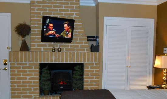 Beach Hut Bed and Breakfast : Fireplace and TV