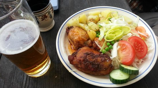 Historic Center of Cesky Krumlov: TW Marys Resturant dish and beer