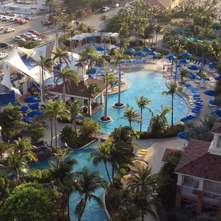 Marriott's Aruba Surf Club: lazy river and pool bar from our balcony