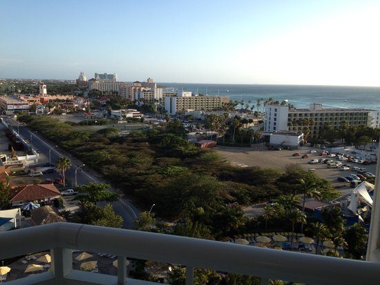 Marriott's Aruba Surf Club: view from balcony towards downtown
