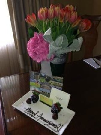 Four Seasons Hotel Austin : Flowers and sweet treats from concierge!