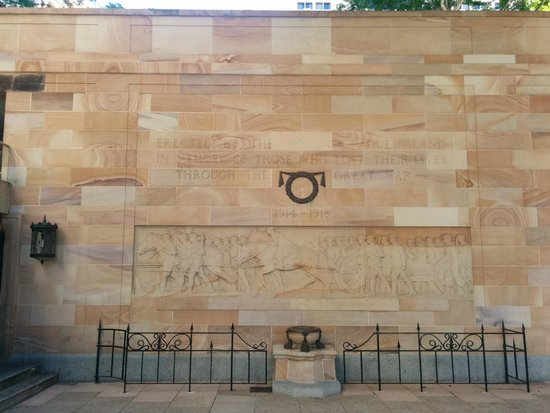 Anzac Square: WW1 memorial frieze carved into the stone.