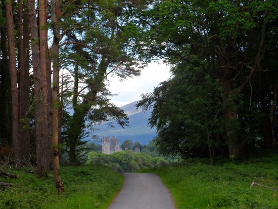 view of Ross Castle approaching on  haunting car in National Park