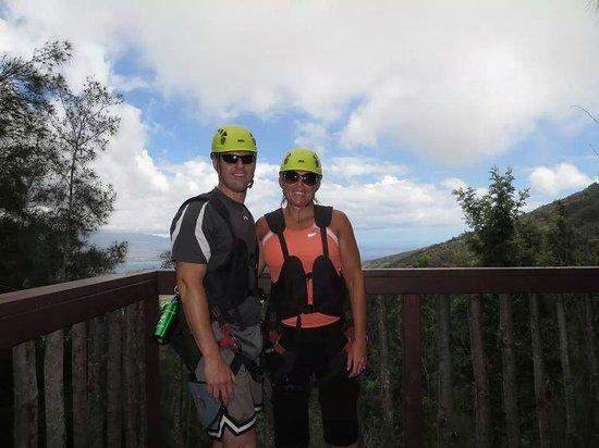 Flyin Hawaiian Zipline: On one of ziplining platforms