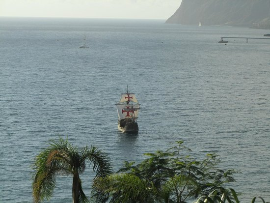 Golden Residence: View from room. Zoomed image of galleon