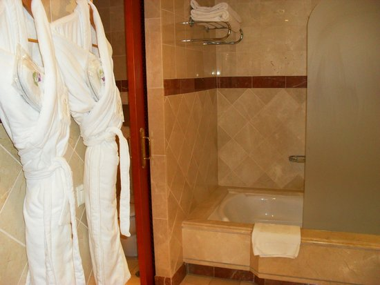 Hotel Jardin Tropical : La salle de bain (douche et baignoire)