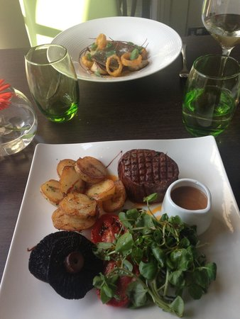 Stanwell House Hotel: Fillet steak and Sea Trout.
