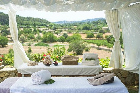 Spa Son Brull: Views from our Summer massage beds