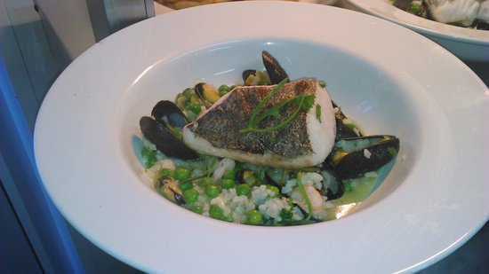 Waterside: seafood risotto with hake fillet and rock samphire