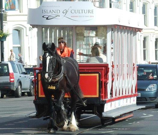 Douglas Bay Horse Tramway : Doulglas Horse Drawn tram heading to Ferry Terminal