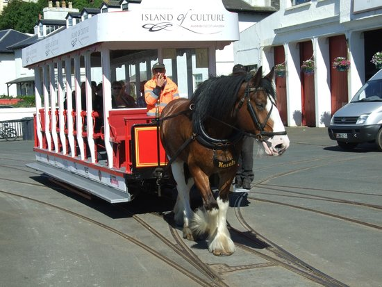 Douglas Bay Horse Tramway : Douglas Horse Drawn Tram passing wagon sheds
