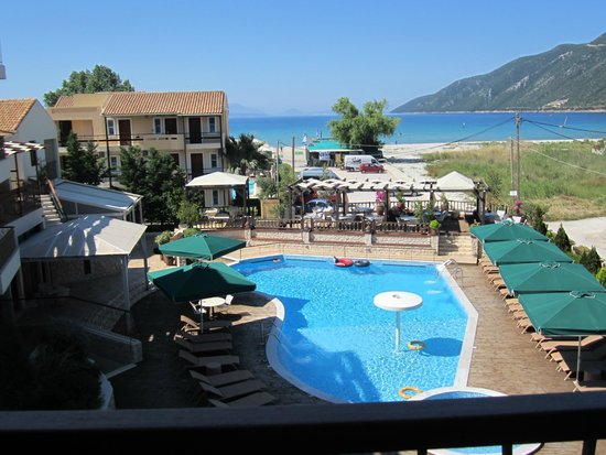 Enodia Hotel: This is the view from the balcony of our suite overlooking the pool and beach