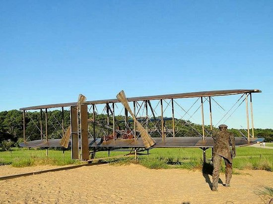 Wright Brothers National Memorial: pushing plane for first flight