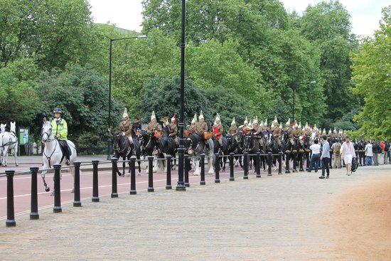 Horses trotting through Hyde Park