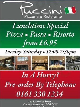 Puccini Ashton: special lunchtime prices